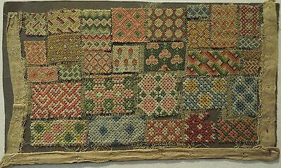 SMALL EARLY/MID 18TH CENTURY SAMPLER FRAGMENT OF DARNING STITCHES c.1740-1760