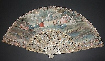 Superb Quality Antique French 18Th Filigree Carved And Painted Figural Scene Fan