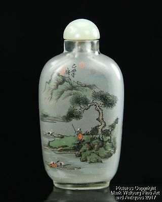 Chinese Inside-Painted Glass Snuff Bottle, River Bank with Figures and Canoes