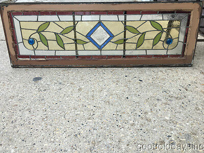 "Antique Victorian Stained Leaded Glass Transom Window Beveled Glass 48"" by 16"""