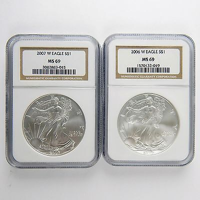 2006-W 2007-W $1 American Silver Eagle ASE Dollar NGC MS69 UNC 2 Coins A2340