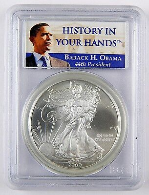 2009 $1 American Silver Eagle ASE Dollar Barack Obama PCGS MS69 UNC Coin A2338