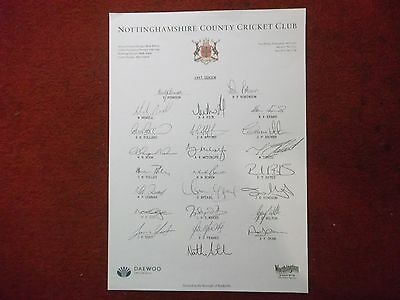 Nottinghamshire County Cricket Club 100% Hand Signed Teamsheet 1997 X 23 Sigs