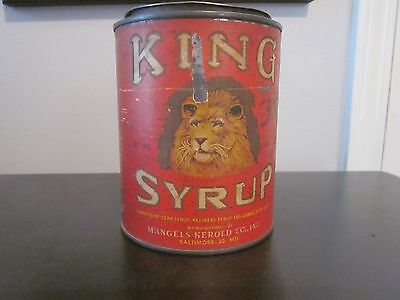 VINTAGE  KING SYRUP 2 lb 8 oz TIN Paper Label