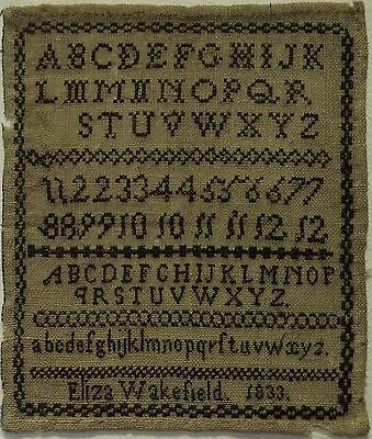 Very Small Early 19Th Century Black Stitch Work Sampler By Eliza Wakefield 1833