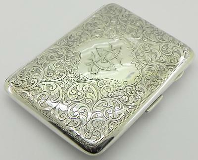 Antique Solid Silver Card Case / Wallet & Pencil, 108gr, Birmingham 1902.
