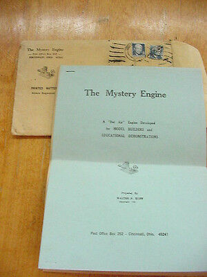 "Vtg Walter Huff ""The Mystery Engine"" Stirling Thermal Engine Hot Air Engine Plan"