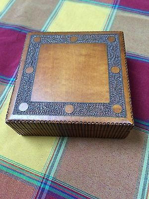 Vintage Polish decorative wooden trinket box with brass inlaid carved border