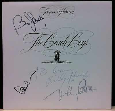 BEACH BOYS Ten Years Of Harmony 1981 Autographed Signed LP Cover Carl Wilson +