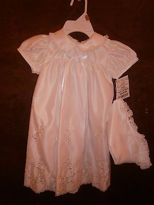 NWT Christening Dress & Bonnet White Embroidered Size 0-3 Mo.