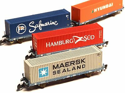 FR  Z-scale Set of 4 container cars class Lgns of the S-MIDC Sweden, Swedish