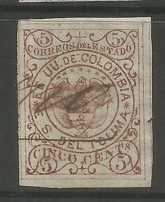 TOLIMA. 1871. 5c Red Brown - Forgery. SG: 14a var. Used Bogus Pen Cancel.