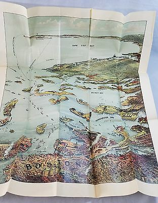 Orig Late 1800's Best Brightest Colorful Map Of Boston Harbor Cape Cod Etc NR