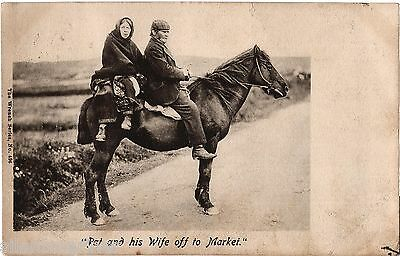 Man and Woman Riding Horse, old b+w postcard, posted 1905