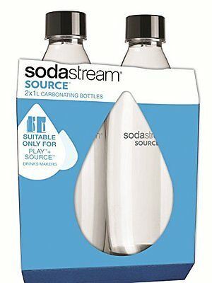 SodaStream Twinpack Fuse Carbonating Bottles 1 L - Black