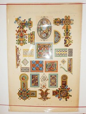 "Large 15"" x 22.5"" Antique English Celtic Folio Plate Grammar of Ornament"
