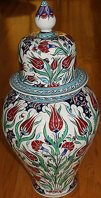 "Turkish Handpainted 24""x12"" Iznik Red Tulip Pattern Ceramic Jar Urn Canister"