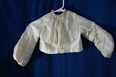 1880's Child's Jacket- S-Cream Silk,Huge Collar, Bishop's Sleeves-BEAUTIFUL-SALE