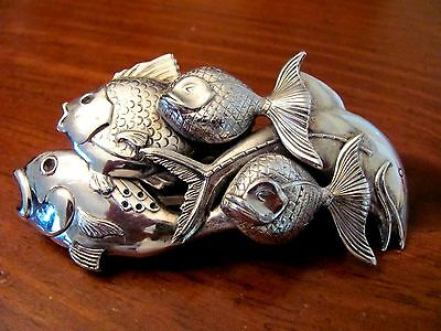 Beautiful Vintage Made In France Silverplate Swimming 3-D Fish Large Hair Clip