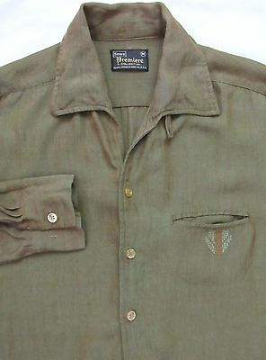 Vtg 60s SEARS Rockabilly Shirt JAC ~ S / M ~ ATOMIC loop collar RAYON Gabardine