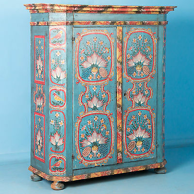 19th Century Antique German Double Door Armoire With Original Paint