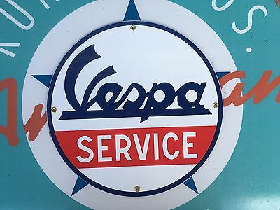 VESPA SERVICE top QUALITY porcelain coated 18 GAUGE steel SIGN