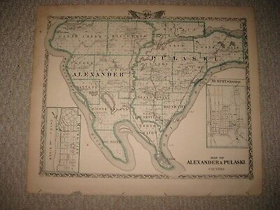 Antique 1876 Alexander Pulaski County Illinois Map Shawneetown Metropolis Cairo