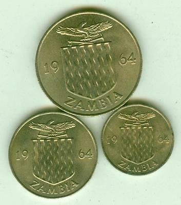 Zambia Uncirculated 1964 3 Coins Set-Lot D4