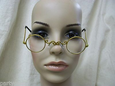 Small Round Pot o Gold Fancy Costume Glasses Victorian Santa Mrs Claus Scrooge