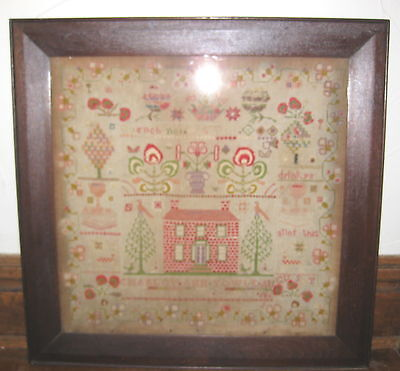 FRAMED ANTIQUE AMERICAN NEEDLEWORK SAMPLER Wrought by Charlot Ann Towle 1865
