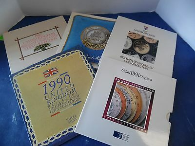 Lot of 5 United Kingdom Uncirculated britain Coin Collection sets 1987 thru 1991
