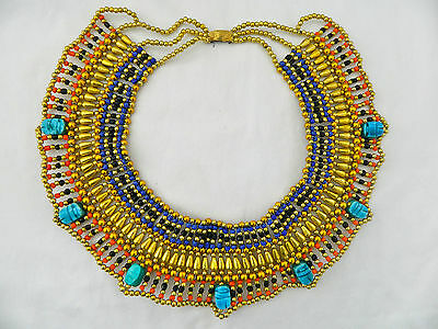 Egyptian Beaded Queen Necklace Gold Plated Scarab Black Muticolor 26""
