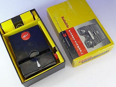 Stereo Realist Red Button viewer serviced by DrT - LED bulb, Kodak box, slides