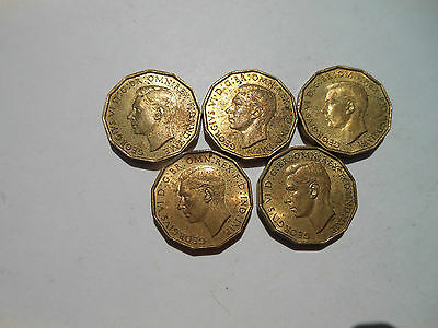LOT OF FIVE GREAT BRITAIN 1948 3d  AU CONDITION