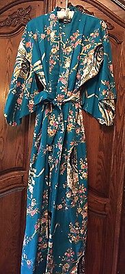 Authentic Japanese Women's Cotton Metallic Floral  Kimono Robe -Medium