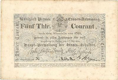 Prussia Germany 5 Thaler Currency Banknote 1824 UNC