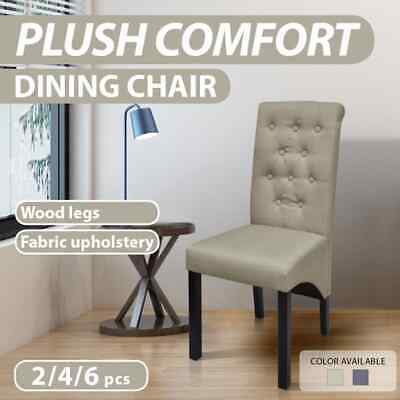 2/4/6pcs Fabric Dining Chair High Back Seat Dark Grey/Beige Kitchen Dining Room