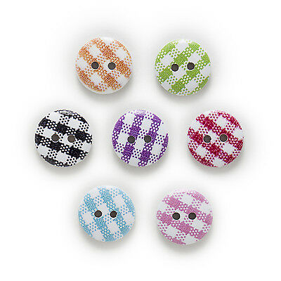 50pcs Grid 2 Hole Round Wood Buttons Decor Sewing Scrapbooking Clothing 15mm