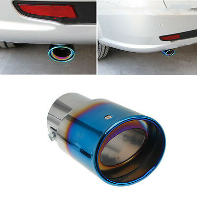 Universal Car Rear Round Exhaust Pipe Tail Muffler Tip Blue Stainless Steel