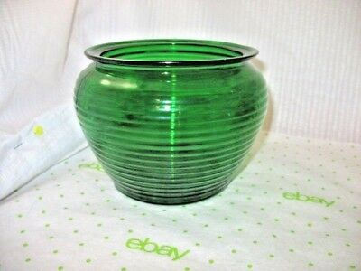 LOT 3 Vtg Forrest Green Glass Emerald Glass Jardiniere Bowl 1950'S CLEVELAND ~NN