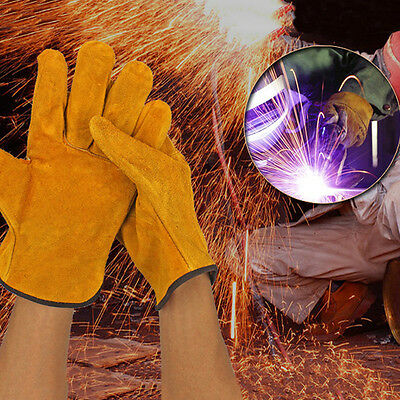 1Pair Leather Safety Protective Gloves Welding Welder Work Repair Wear-Resistant