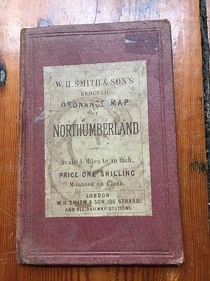 W H Smith Ordnance Survey Cloth Map Of Northumberland Estimated Date Inter-war