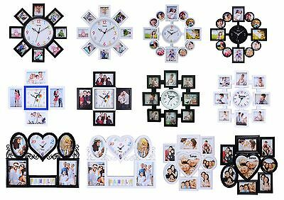 Multi Photo Frame Family Clock Frames Collage Picture Aperture Wall Photo Frame