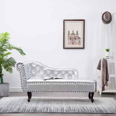 vidaXL CHESTERFIELD CHAISE LONGUE POLTRONCINE POLTRONE SALOTTO ECOPELLE ARGENTO