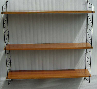 vintage 60s Teak and black metal wire wall shelf String Strinning Era