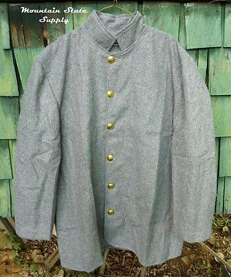 """Tag=34 Chest = 44"""" Civil War Confederate South Light Gray Wool Sack Coat Jacket"""