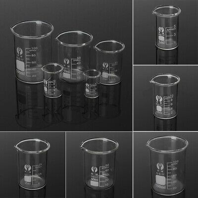 5ml 10ml 25ml 50ml 100ml Becherglas Set Laborbecher Laborglas Meßbecher Glas