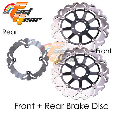 Front Rear SS Brake Disc Rotor Set Fit Kawasaki ZX-12R Ninja 00 01 02 03
