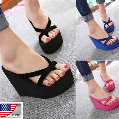 US Womens Summer Wedge Platform Thong Flip Flops Sandals Beach Slippers Shoes JP