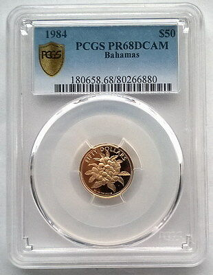 Bahamas 1984 Golden Allamanda 50 Dollars PCGS PR68 Gold Coin,Proof